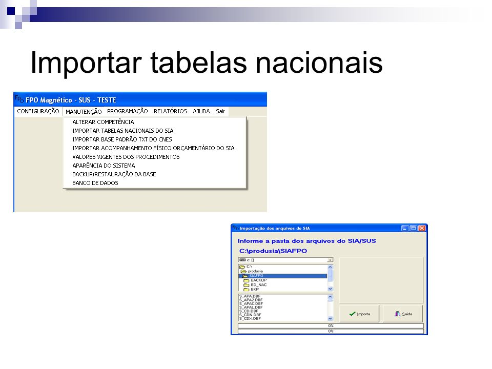 Importar tabelas nacionais