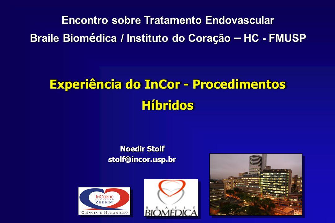 Experiência do InCor - Procedimentos Híbridos Noedir Stolf stolf@incor.usp.br Encontro sobre Tratamento Endovascular Braile Biom é dica / Instituto do