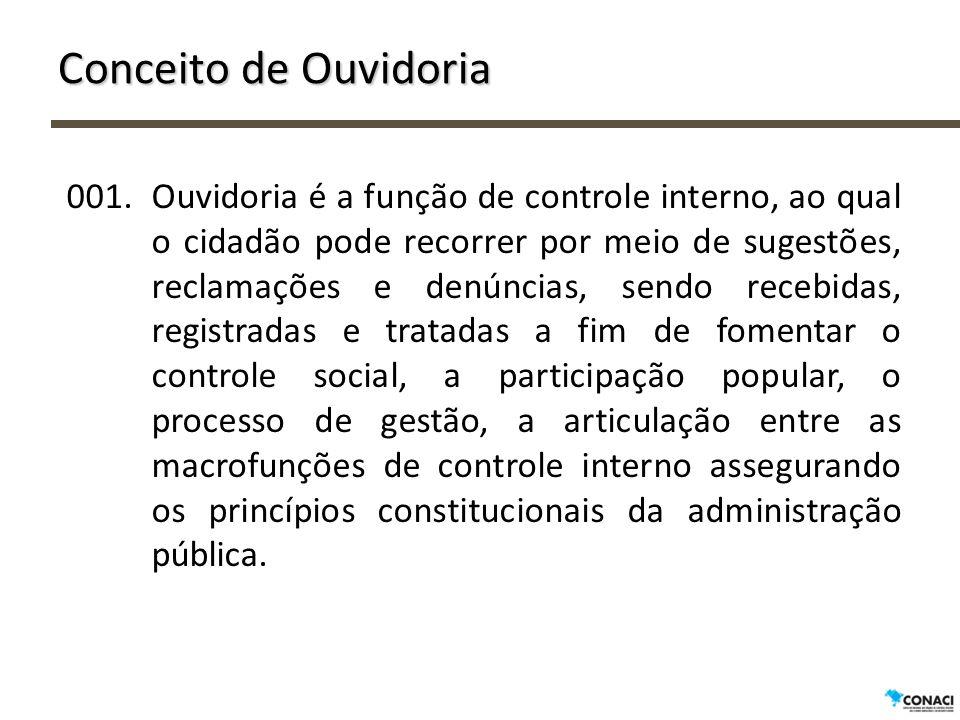 Conceito de Ouvidoria 001.Ouvidoria é a função de controle interno, ao qual o cidadão pode recorrer por meio de sugestões, reclamações e denúncias, se