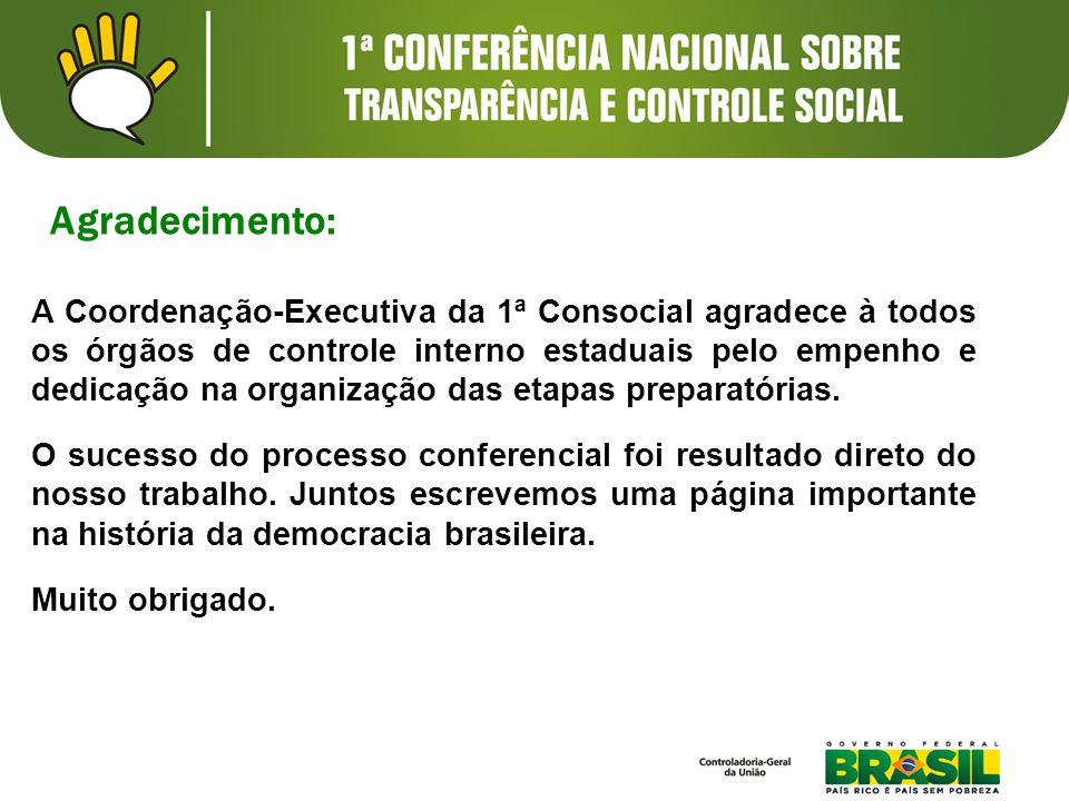 A Coordenação-Executiva da 1ª Consocial agradece à todos os órgãos de controle interno estaduais pelo empenho e dedicação na organização das etapas preparatórias.
