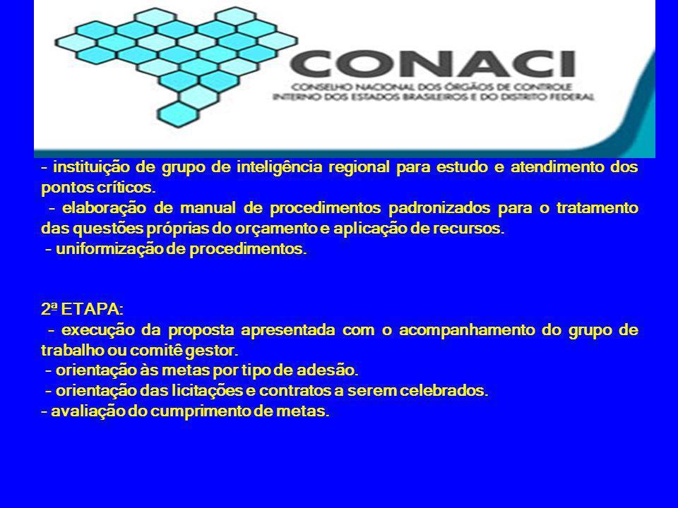 - instituição de grupo de inteligência regional para estudo e atendimento dos pontos críticos.