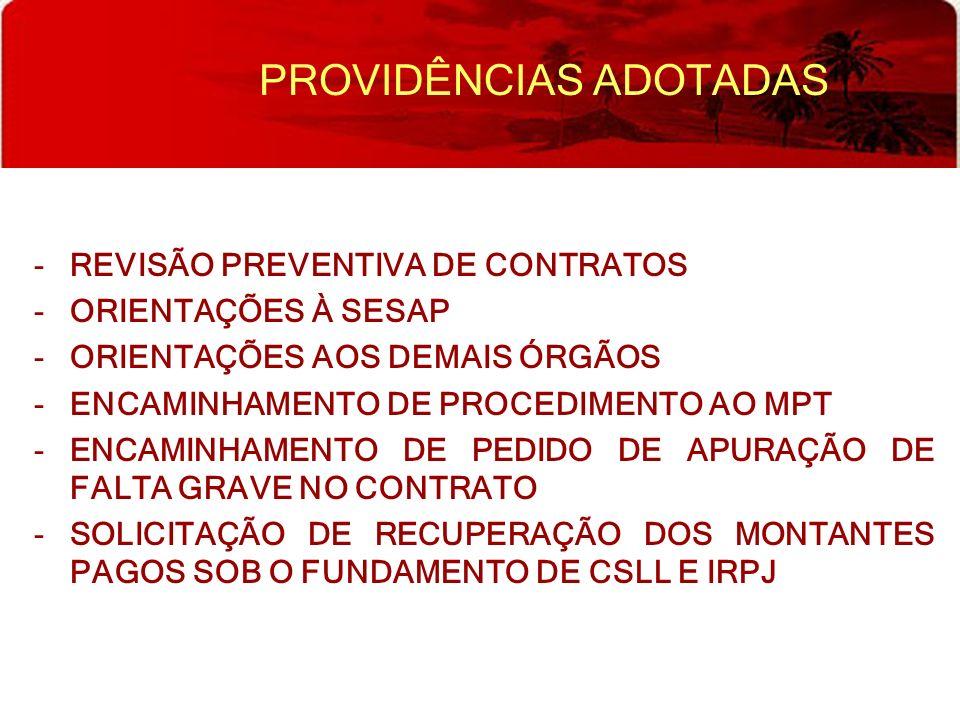 PROVIDÊNCIAS ADOTADAS -REVISÃO PREVENTIVA DE CONTRATOS -ORIENTAÇÕES À SESAP -ORIENTAÇÕES AOS DEMAIS ÓRGÃOS -ENCAMINHAMENTO DE PROCEDIMENTO AO MPT -ENC