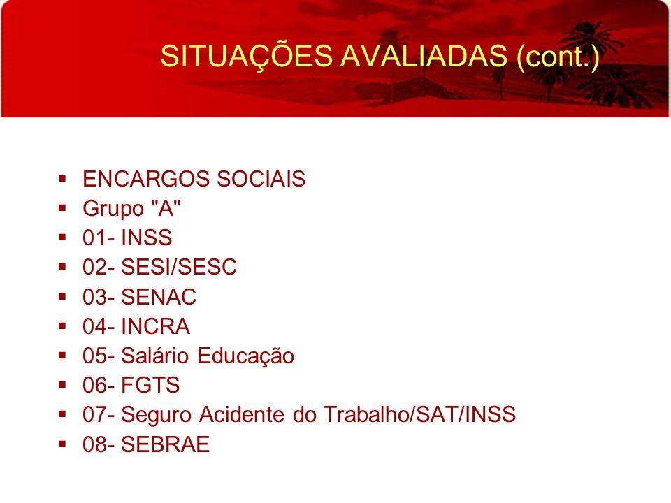 SITUAÇÕES AVALIADAS (cont.) ENCARGOS SOCIAIS Grupo