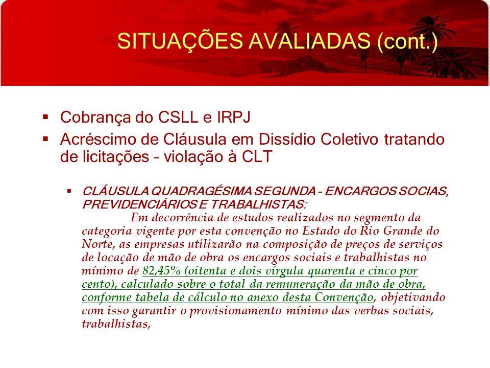 SITUAÇÕES AVALIADAS (cont.) Cobrança do CSLL e IRPJ Acréscimo de Cláusula em Dissídio Coletivo tratando de licitações – violação à CLT CLÁUSULA QUADRA