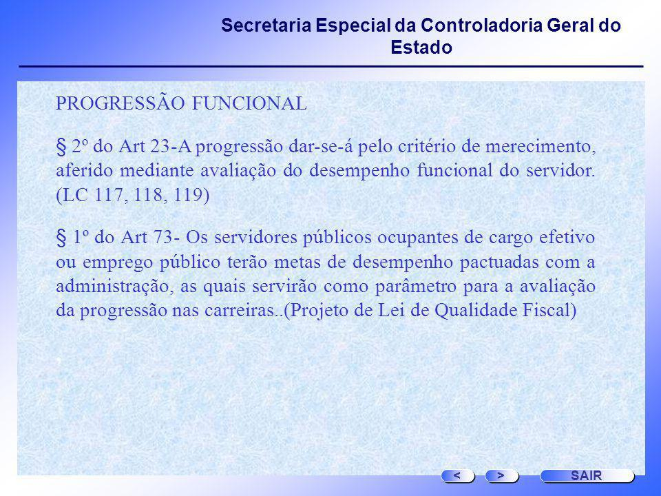 Secretaria Especial da Controladoria Geral do Estado PROGRESSÃO FUNCIONAL § 2º do Art 23-A progressão dar-se-á pelo critério de merecimento, aferido m