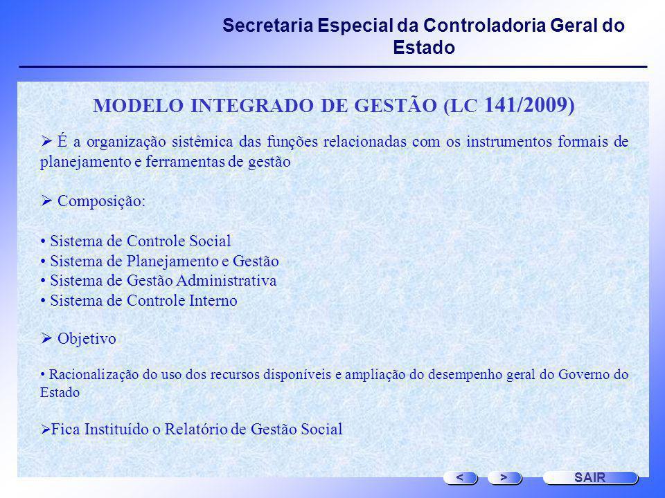Secretaria Especial da Controladoria Geral do Estado MODELO INTEGRADO DE GESTÃO (LC 141/2009) É a organização sistêmica das funções relacionadas com o