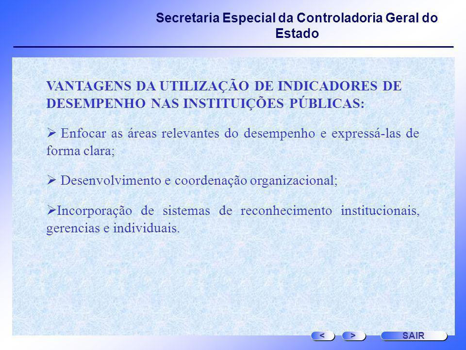 Secretaria Especial da Controladoria Geral do Estado VANTAGENS DA UTILIZAÇÃO DE INDICADORES DE DESEMPENHO NAS INSTITUIÇÕES PÚBLICAS: Enfocar as áreas