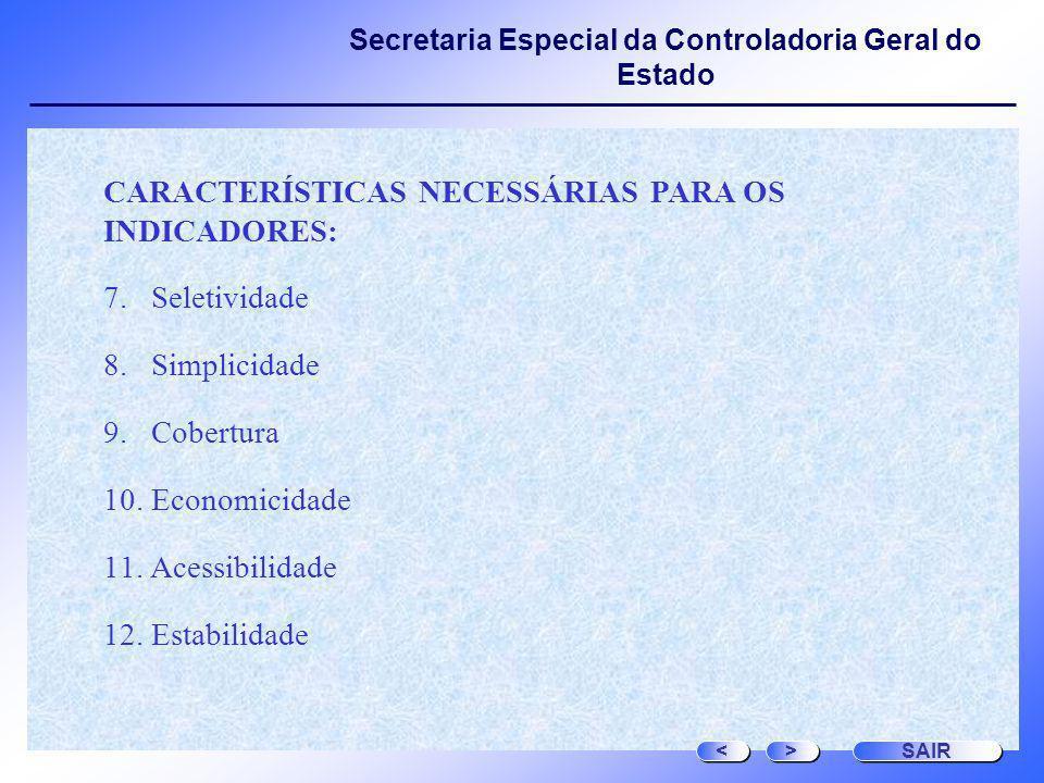 Secretaria Especial da Controladoria Geral do Estado CARACTERÍSTICAS NECESSÁRIAS PARA OS INDICADORES: 7. Seletividade 8. Simplicidade 9. Cobertura 10.