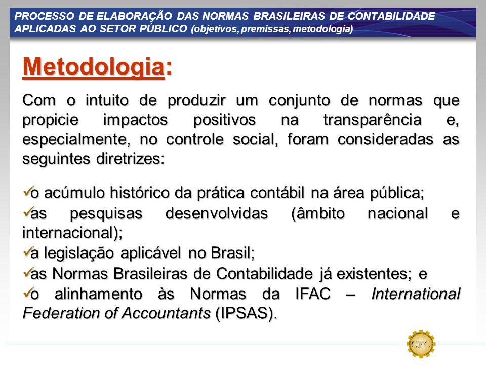 PROCESSO DE ELABORAÇÃO DAS NORMAS BRASILEIRAS DE CONTABILIDADE APLICADAS AO SETOR PÚBLICO (objetivos, premissas, metodologia) Metodologia: Com o intui