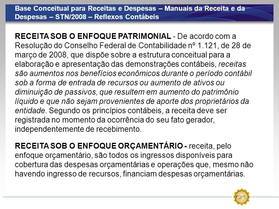 Base Conceitual para Receitas e Despesas – Manuais da Receita e da Despesas – STN/2008 – Reflexos Contábeis RECEITA SOB O ENFOQUE ORÇAMENTÁRIO - recei