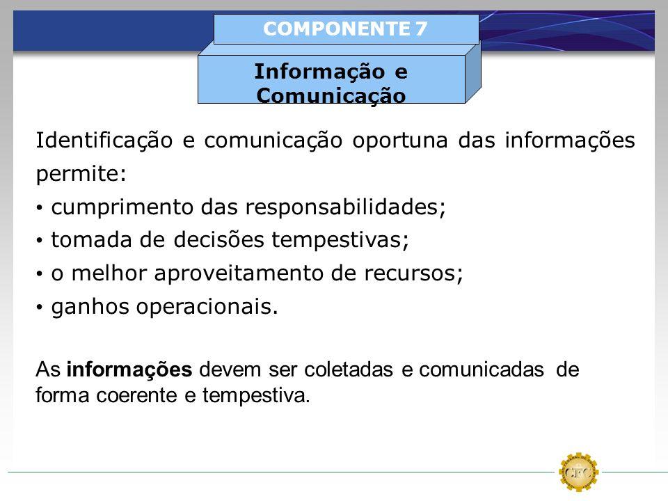 Identificação e comunicação oportuna das informações permite: cumprimento das responsabilidades; tomada de decisões tempestivas; o melhor aproveitamen