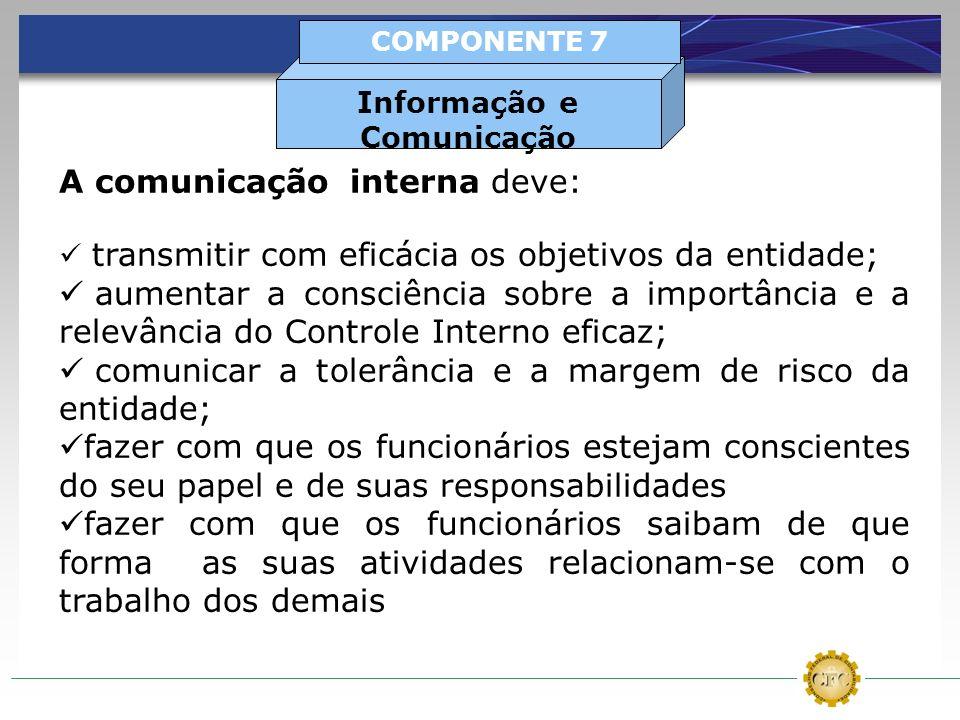 A comunicação interna deve: transmitir com eficácia os objetivos da entidade; aumentar a consciência sobre a importância e a relevância do Controle In