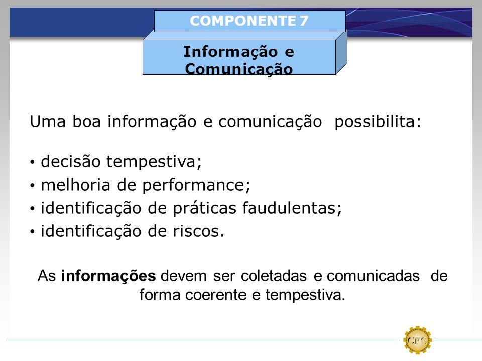 Uma boa informação e comunicação possibilita: decisão tempestiva; melhoria de performance; identificação de práticas faudulentas; identificação de ris