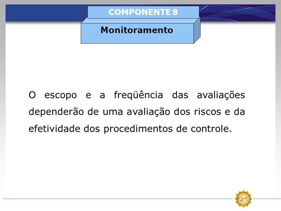O escopo e a freqüência das avaliações dependerão de uma avaliação dos riscos e da efetividade dos procedimentos de controle. Monitoramento COMPONENTE