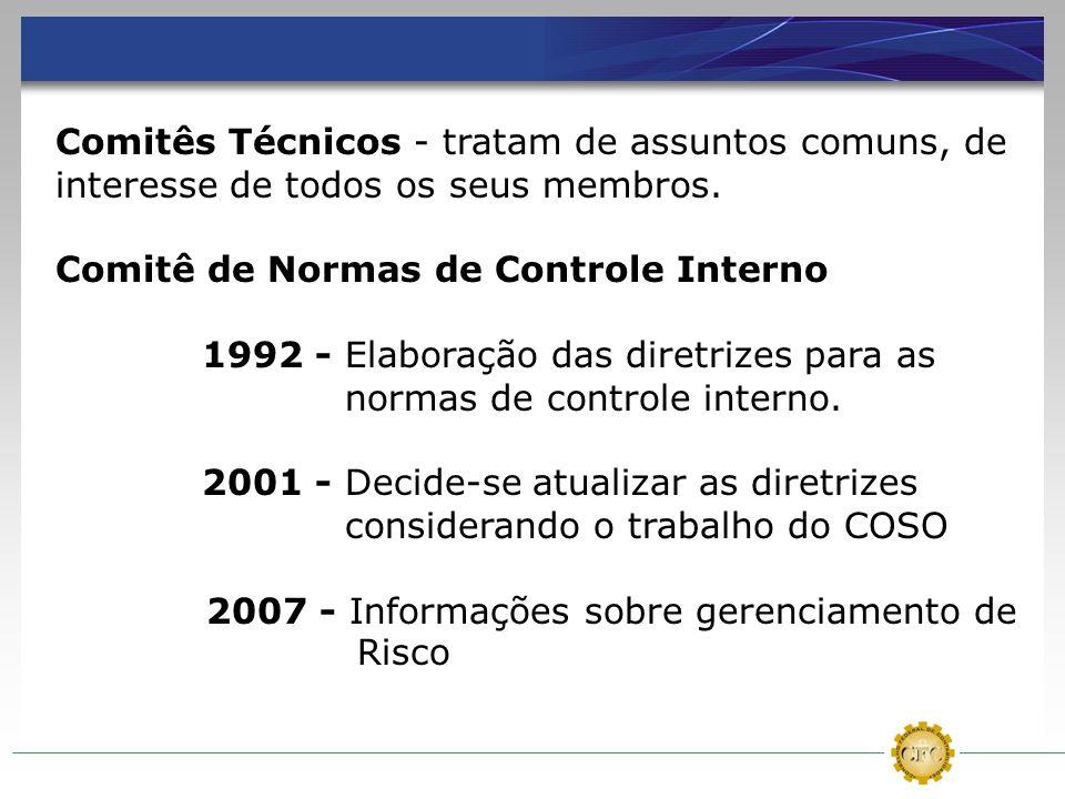 Comitês Técnicos - tratam de assuntos comuns, de interesse de todos os seus membros. Comitê de Normas de Controle Interno 1992 - Elaboração das diretr