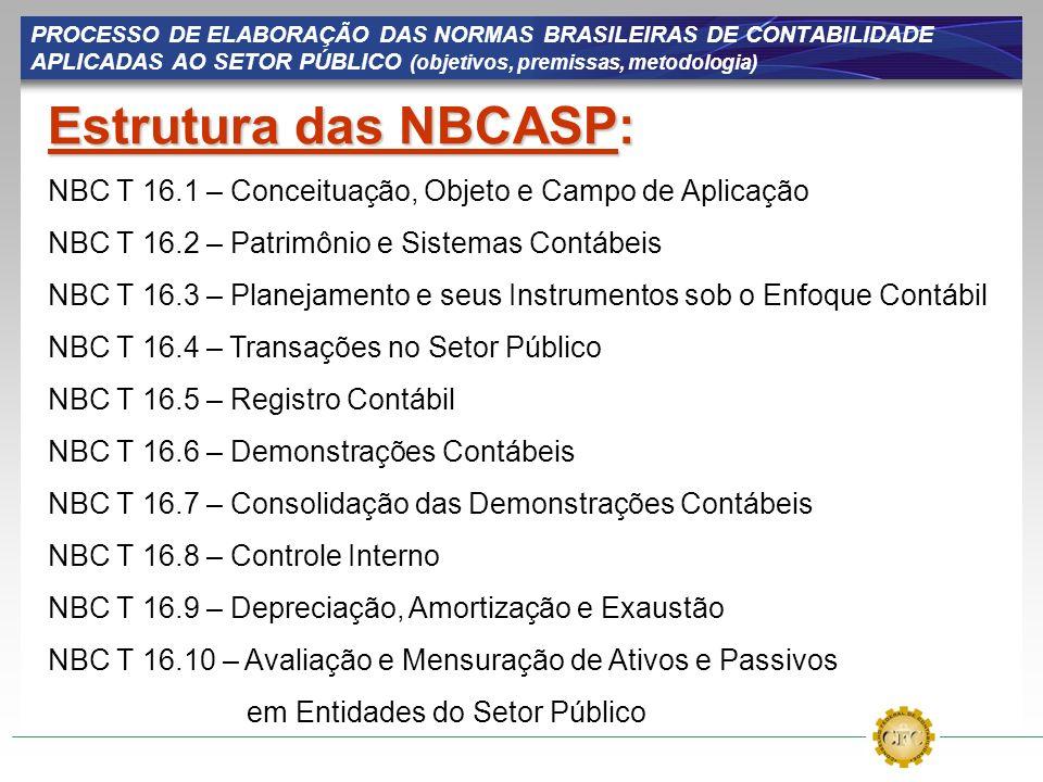 PROCESSO DE ELABORAÇÃO DAS NORMAS BRASILEIRAS DE CONTABILIDADE APLICADAS AO SETOR PÚBLICO (objetivos, premissas, metodologia) Estrutura das NBCASP: NB
