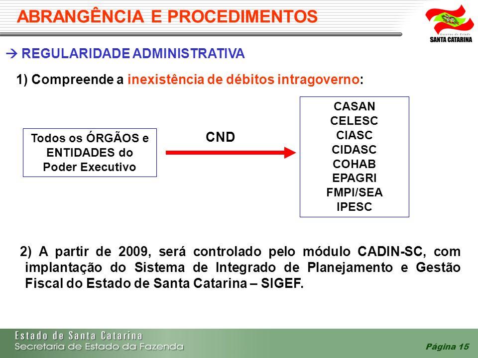 Página 15 REGULARIDADE ADMINISTRATIVA 1) Compreende a inexistência de débitos intragoverno: CND 2) A partir de 2009, será controlado pelo módulo CADIN-SC, com implantação do Sistema de Integrado de Planejamento e Gestão Fiscal do Estado de Santa Catarina – SIGEF.
