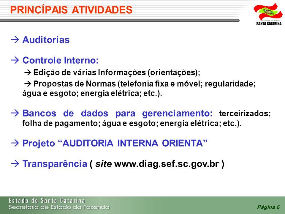 Página 6 PRINCÍPAIS ATIVIDADES Auditorias Controle Interno: Edição de várias Informações (orientações); Propostas de Normas (telefonia fixa e móvel; regularidade; água e esgoto; energia elétrica; etc.).