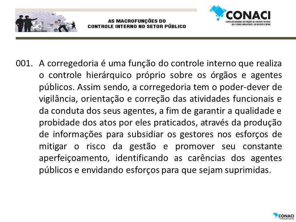001.A corregedoria é uma função do controle interno que realiza o controle hierárquico próprio sobre os órgãos e agentes públicos.
