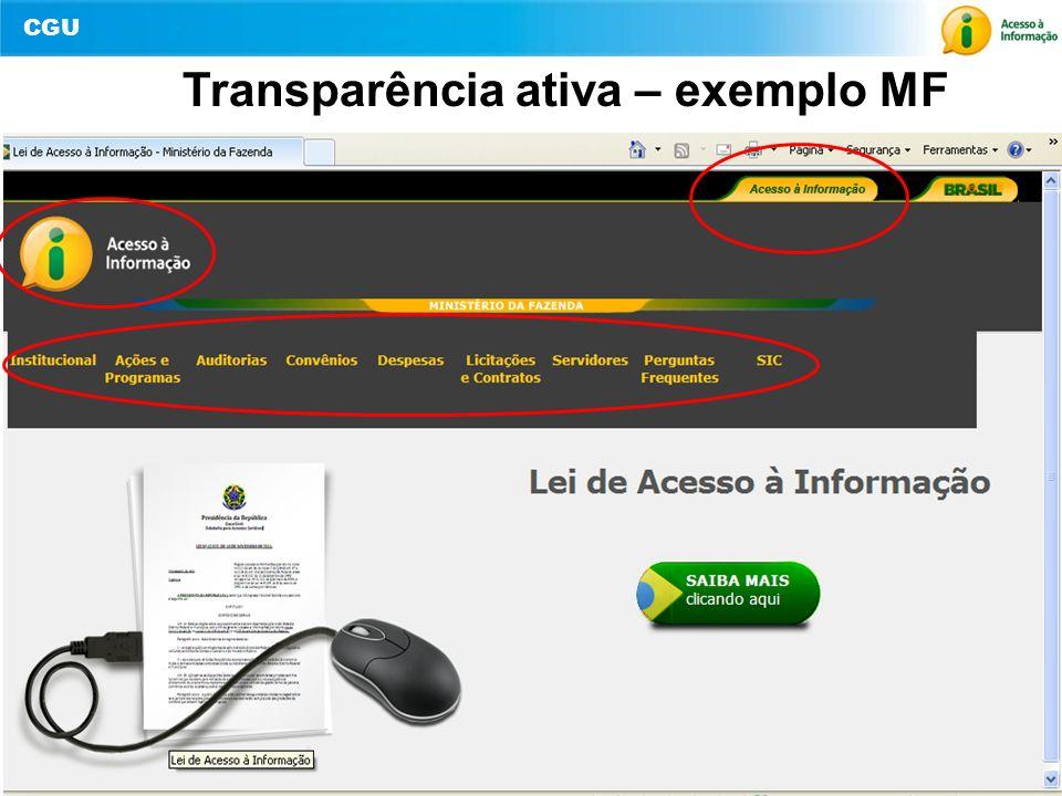 CGU 12 Transparência ativa – exemplo MF