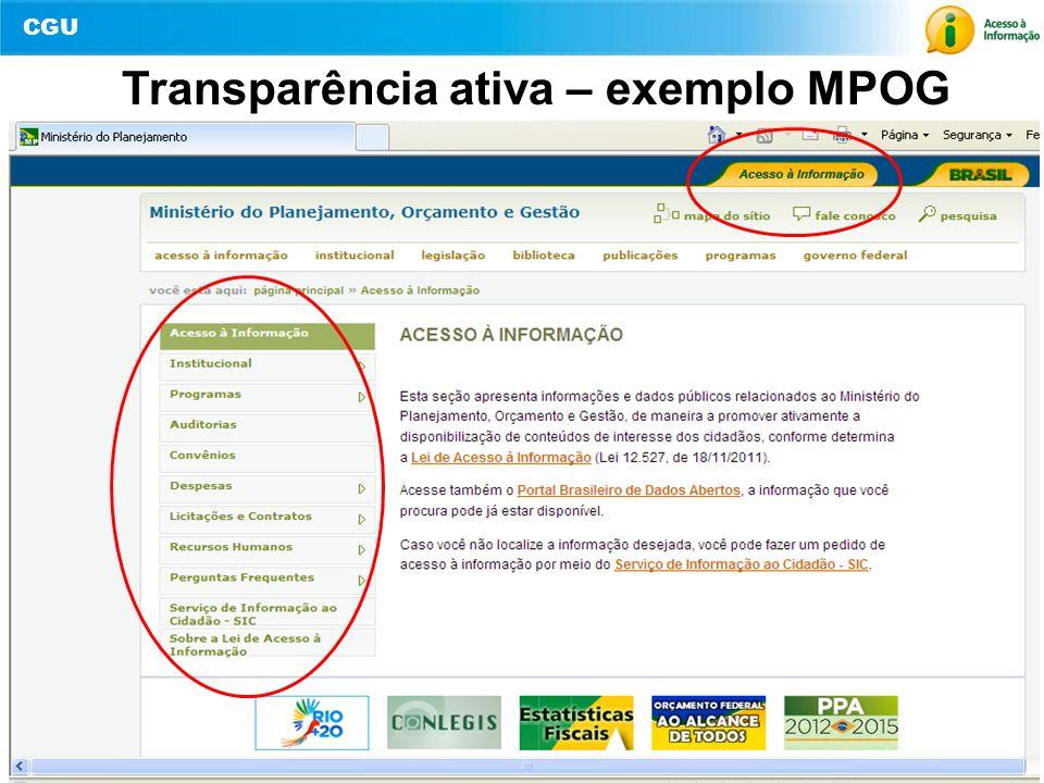 CGU 13 Transparência ativa – exemplo MPOG