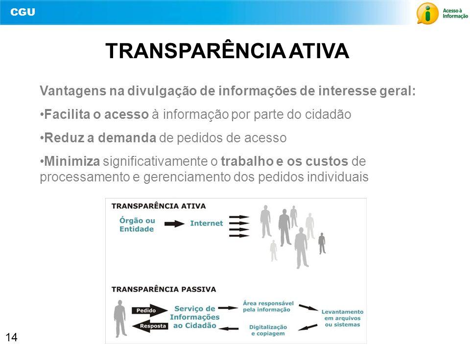 CGU 14 TRANSPARÊNCIA ATIVA Vantagens na divulgação de informações de interesse geral: Facilita o acesso à informação por parte do cidadão Reduz a dema