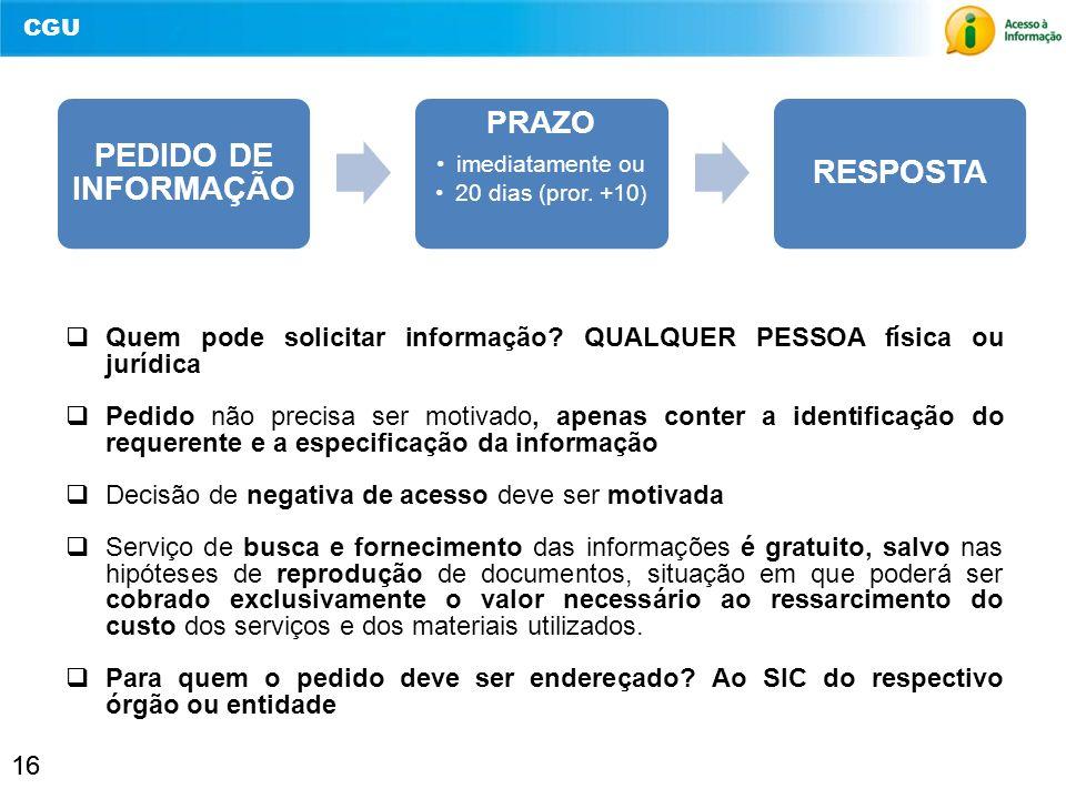 CGU 16 Quem pode solicitar informação? QUALQUER PESSOA física ou jurídica Pedido não precisa ser motivado, apenas conter a identificação do requerente