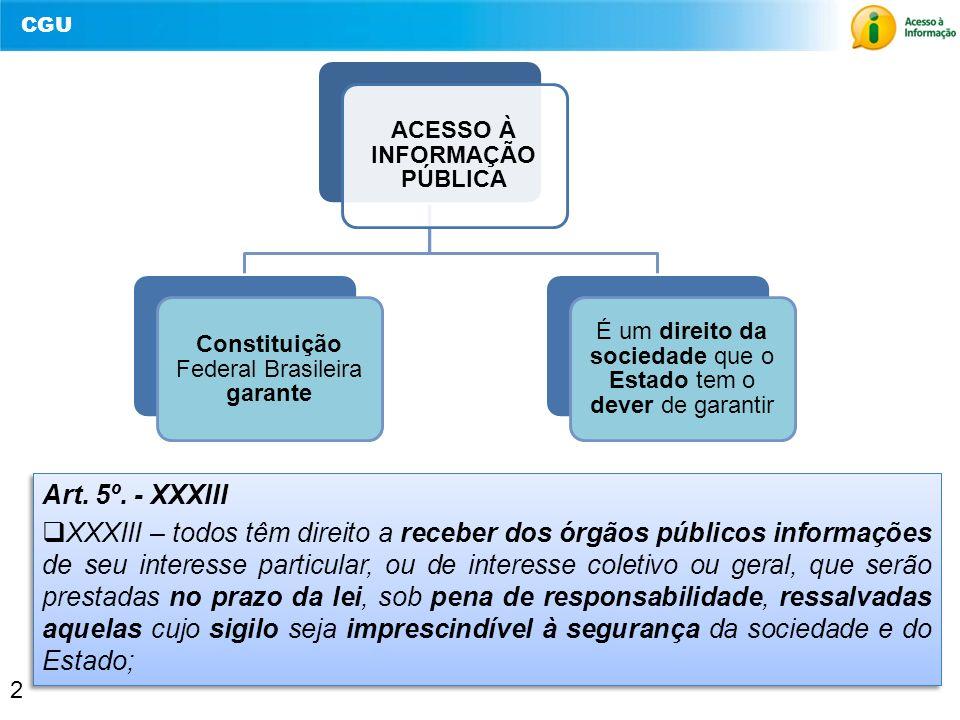 CGU 2 ACESSO À INFORMAÇÃO PÚBLICA Constituição Federal Brasileira garante É um direito da sociedade que o Estado tem o dever de garantir 2 Art. 5º. -