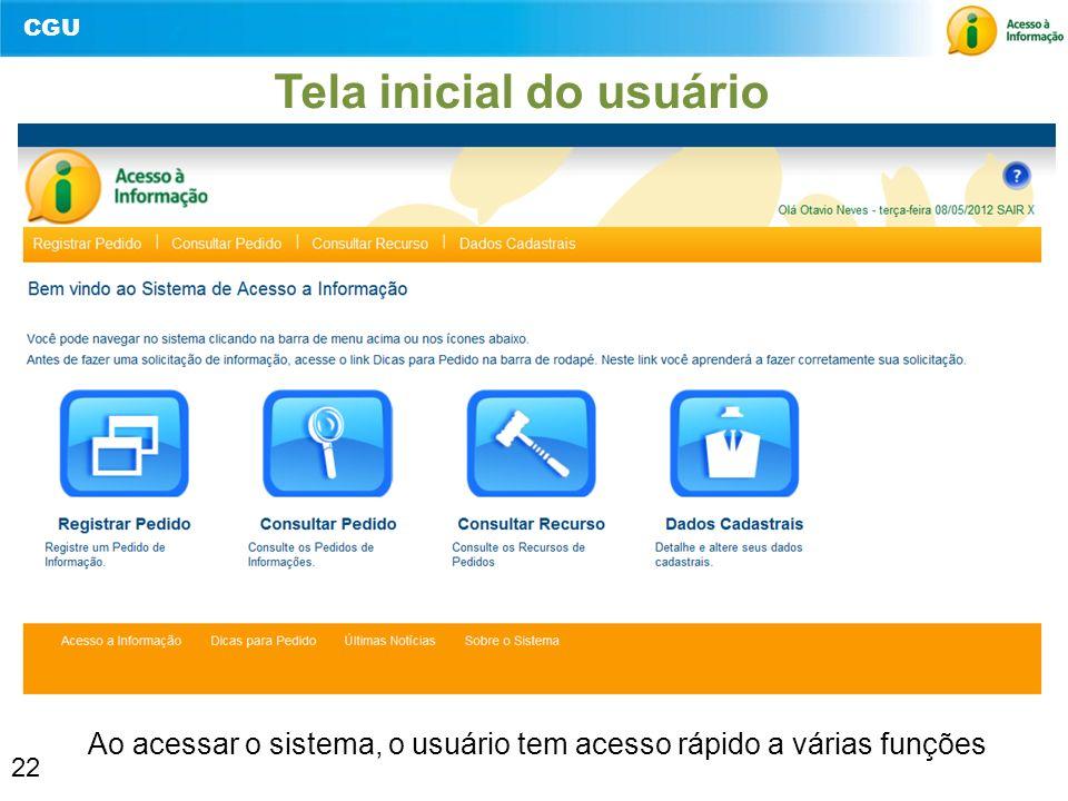 CGU 22 Tela inicial do usuário Ao acessar o sistema, o usuário tem acesso rápido a várias funções