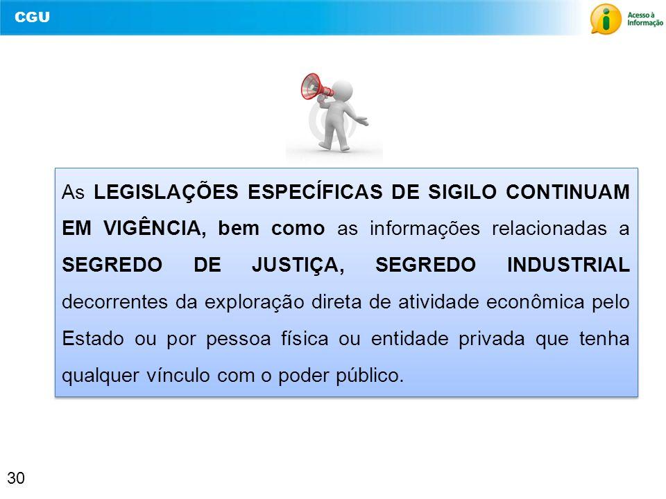 CGU 30 As LEGISLAÇÕES ESPECÍFICAS DE SIGILO CONTINUAM EM VIGÊNCIA, bem como as informações relacionadas a SEGREDO DE JUSTIÇA, SEGREDO INDUSTRIAL decor