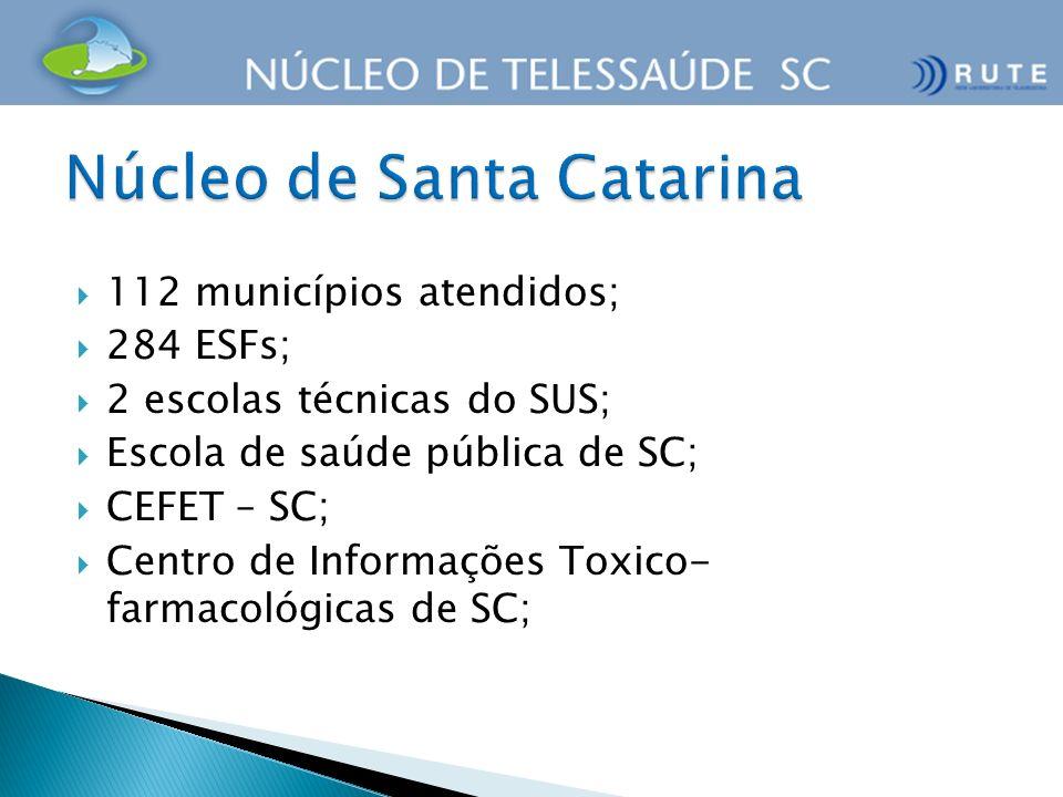 112 municípios atendidos; 284 ESFs; 2 escolas técnicas do SUS; Escola de saúde pública de SC; CEFET – SC; Centro de Informações Toxico- farmacológicas