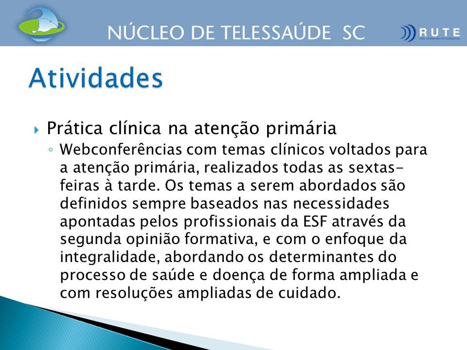 Prática clínica na atenção primária Webconferências com temas clínicos voltados para a atenção primária, realizados todas as sextas- feiras à tarde. O