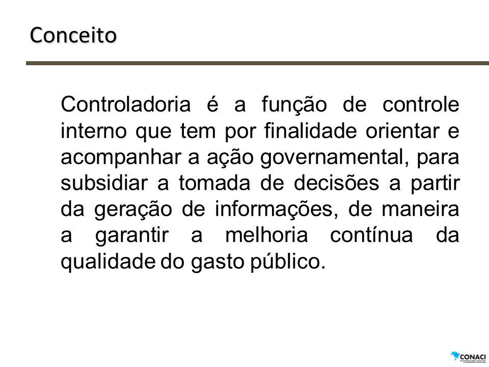 Conceito Controladoria é a função de controle interno que tem por finalidade orientar e acompanhar a ação governamental, para subsidiar a tomada de de