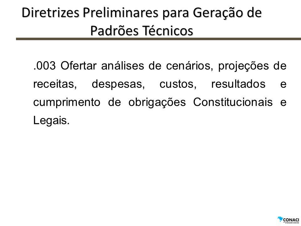 Diretrizes Preliminares para Geração de Padrões Técnicos.003 Ofertar análises de cenários, projeções de receitas, despesas, custos, resultados e cumpr
