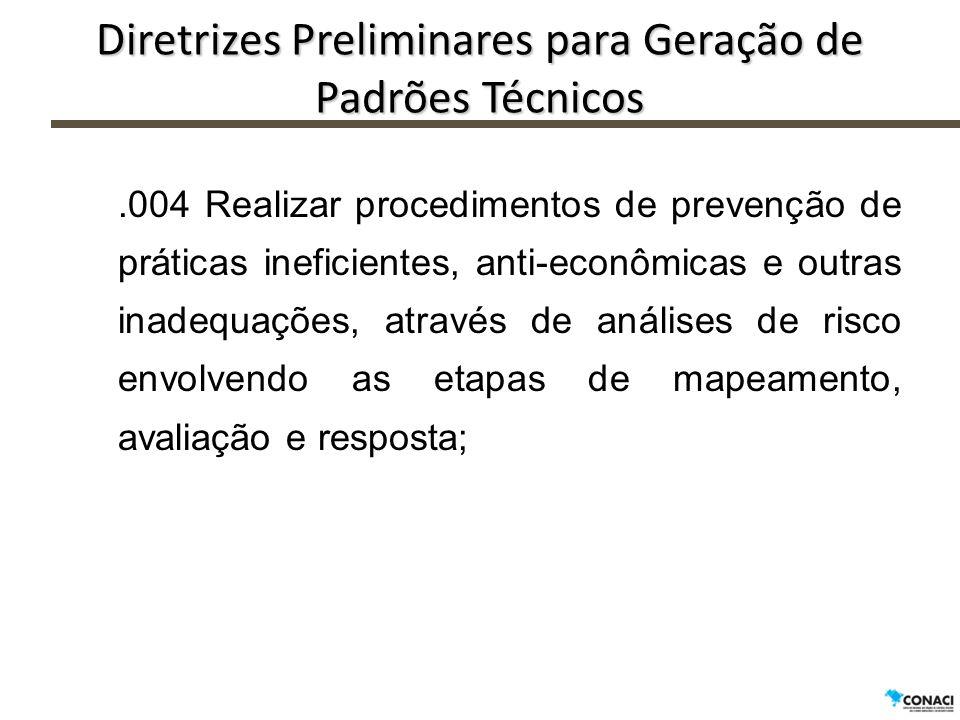 Diretrizes Preliminares para Geração de Padrões Técnicos.004 Realizar procedimentos de prevenção de práticas ineficientes, anti-econômicas e outras in