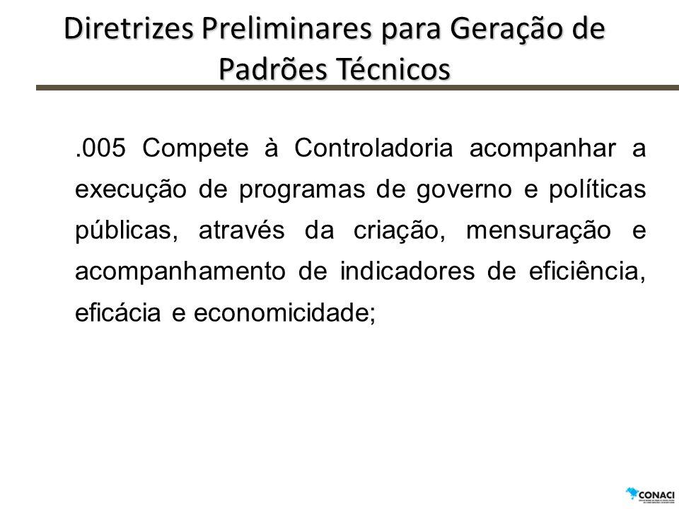 .005 Compete à Controladoria acompanhar a execução de programas de governo e políticas públicas, através da criação, mensuração e acompanhamento de in