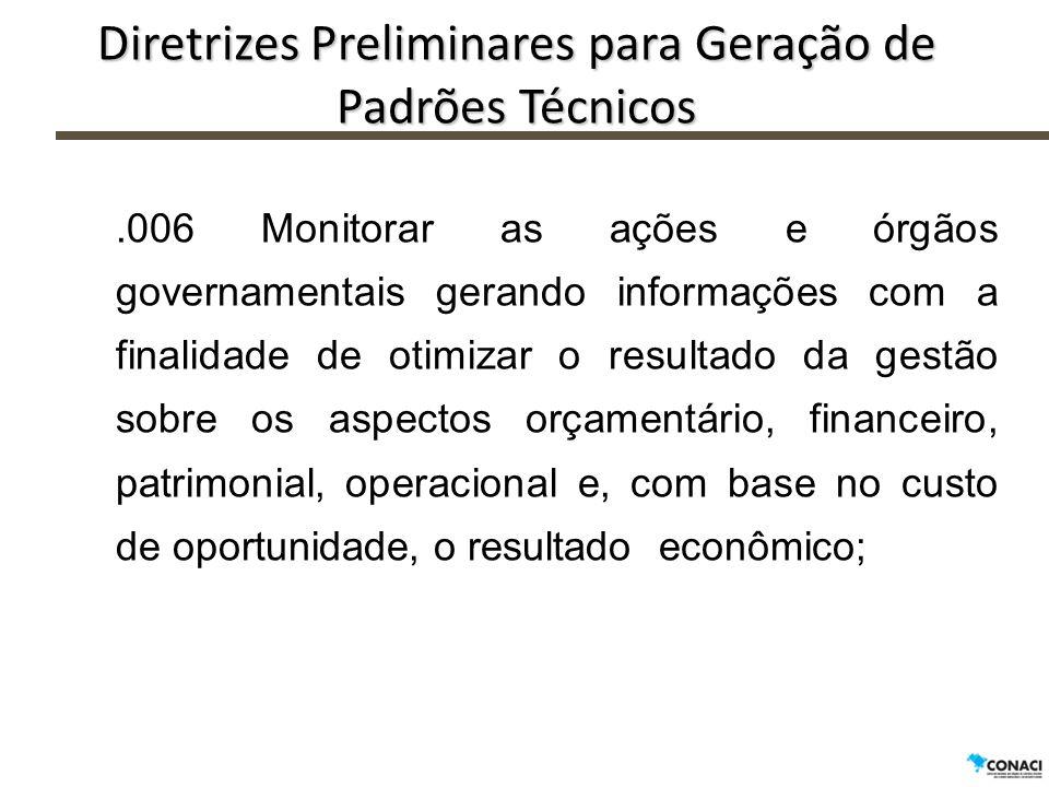 .006 Monitorar as ações e órgãos governamentais gerando informações com a finalidade de otimizar o resultado da gestão sobre os aspectos orçamentário,