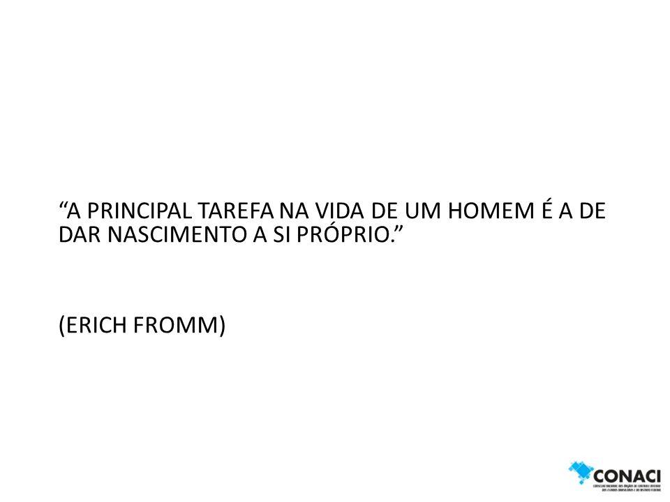 A PRINCIPAL TAREFA NA VIDA DE UM HOMEM É A DE DAR NASCIMENTO A SI PRÓPRIO. (ERICH FROMM)