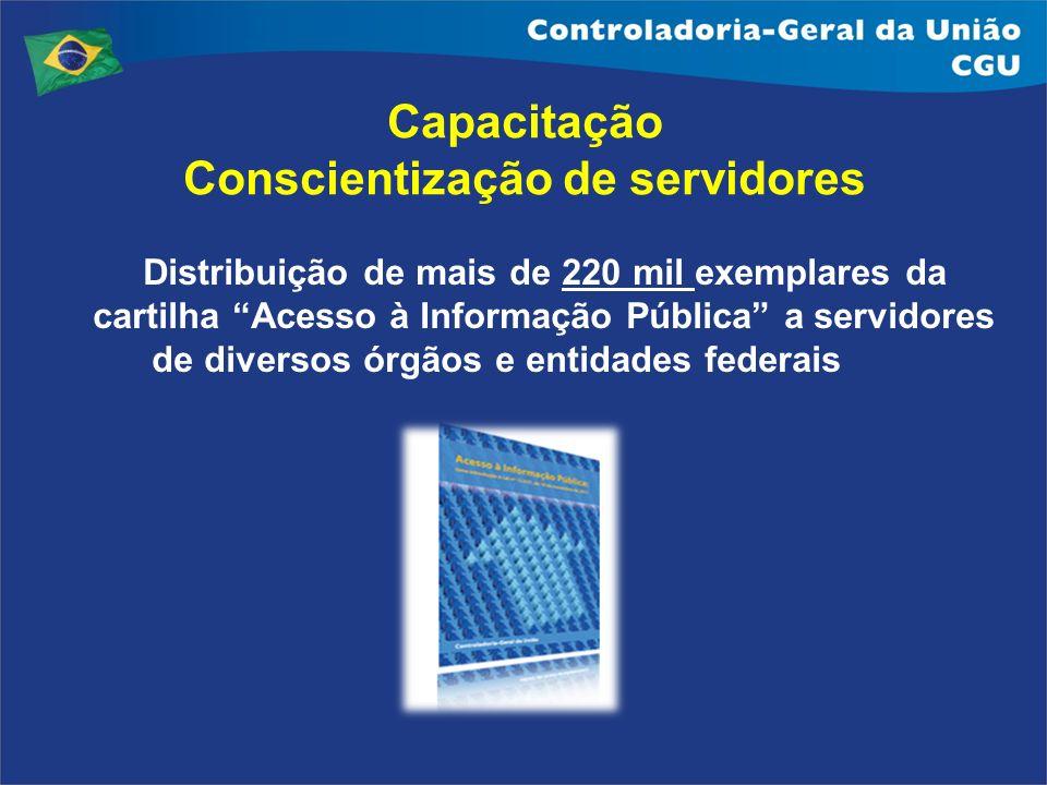 Distribuição de mais de 220 mil exemplares da cartilha Acesso à Informação Pública a servidores de diversos órgãos e entidades federais Capacitação Co