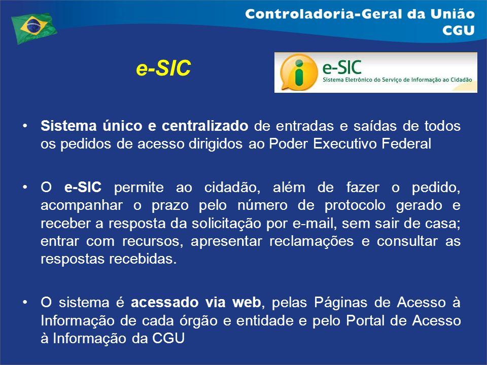 e-SIC Sistema único e centralizado de entradas e saídas de todos os pedidos de acesso dirigidos ao Poder Executivo Federal O e-SIC permite ao cidadão,