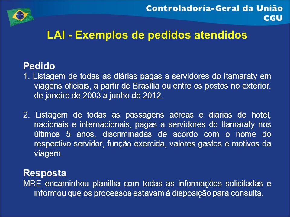 Pedido 1. Listagem de todas as diárias pagas a servidores do Itamaraty em viagens oficiais, a partir de Brasília ou entre os postos no exterior, de ja