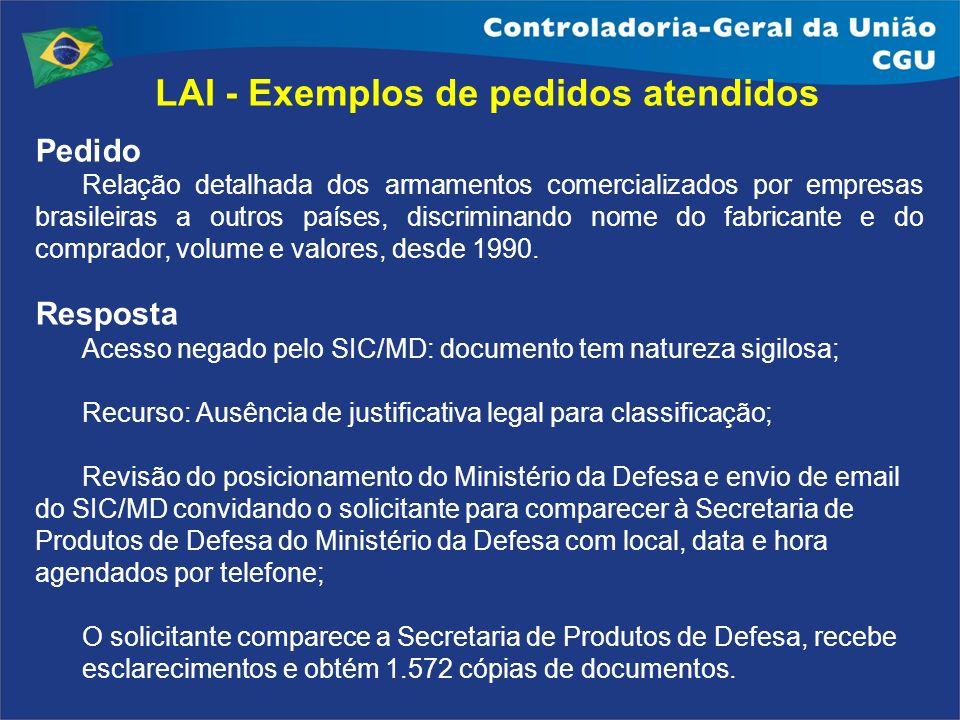Pedido Relação detalhada dos armamentos comercializados por empresas brasileiras a outros países, discriminando nome do fabricante e do comprador, vol
