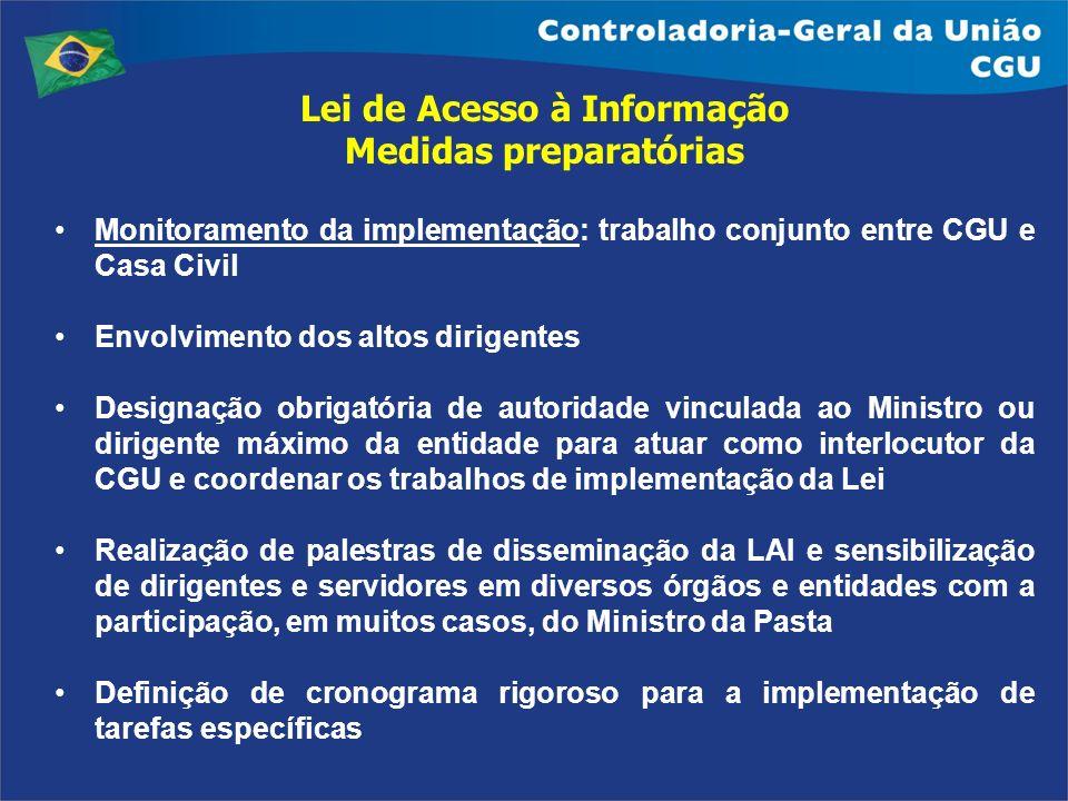 Lei de Acesso à Informação Medidas preparatórias Monitoramento da implementação: trabalho conjunto entre CGU e Casa Civil Envolvimento dos altos dirig