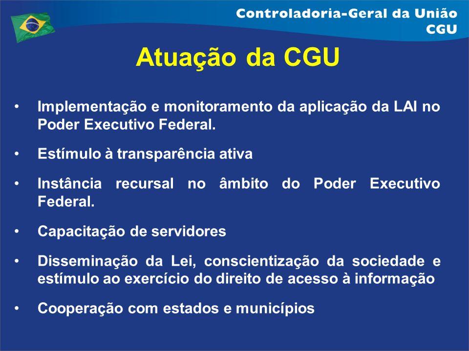 Atuação da CGU Implementação e monitoramento da aplicação da LAI no Poder Executivo Federal. Estímulo à transparência ativa Instância recursal no âmbi