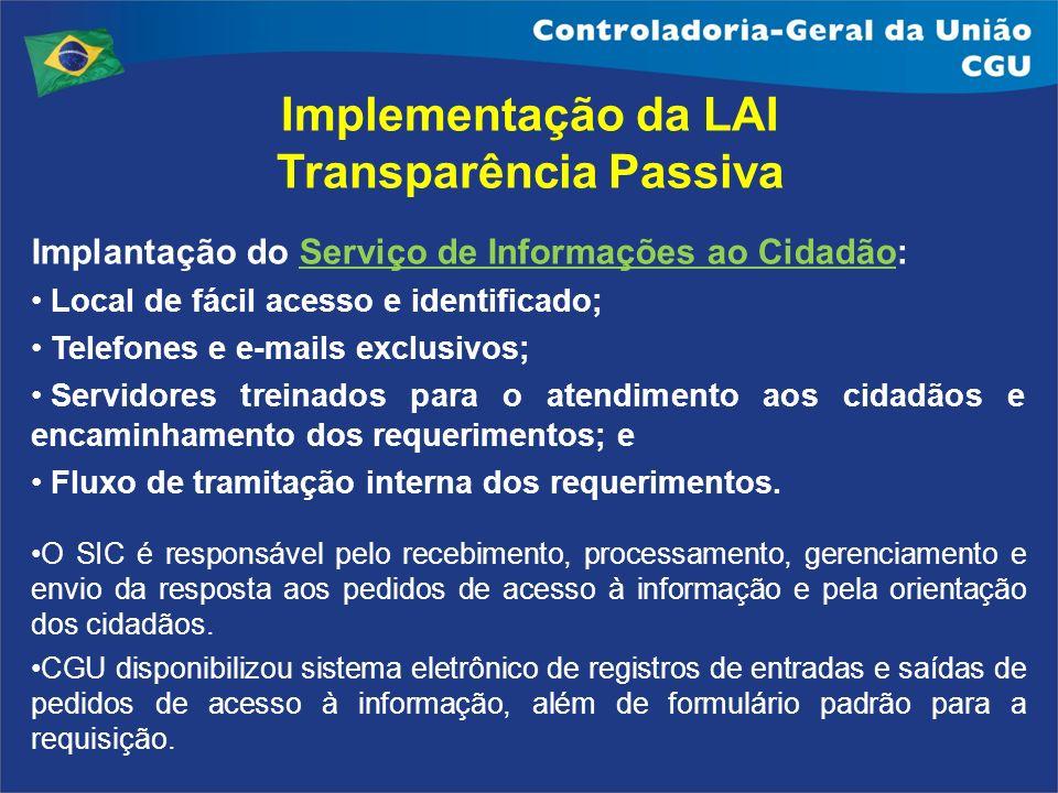 Implantação do Serviço de Informações ao Cidadão: Local de fácil acesso e identificado; Telefones e e-mails exclusivos; Servidores treinados para o at