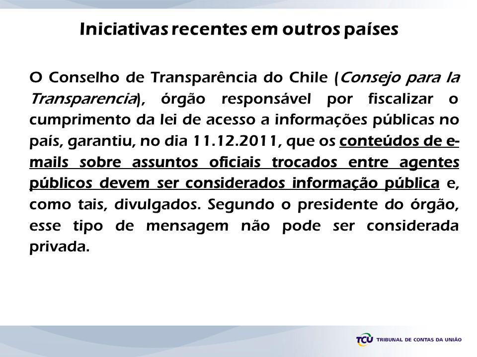 O Conselho de Transparência do Chile (Consejo para la Transparencia), órgão responsável por fiscalizar o cumprimento da lei de acesso a informações pú