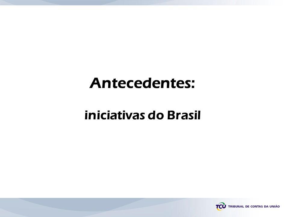 Antecedentes: iniciativas do Brasil