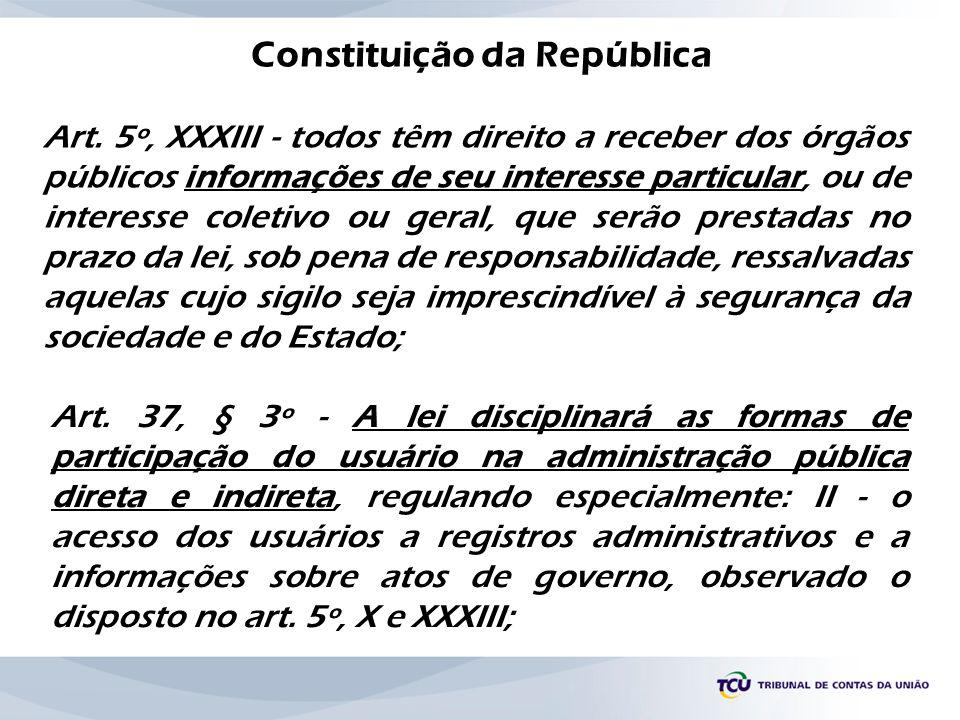 Constituição da República Art. 5º, XXXIII - todos têm direito a receber dos órgãos públicos informações de seu interesse particular, ou de interesse c