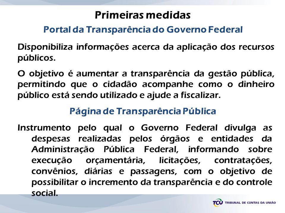 Portal da Transparência do Governo Federal Disponibiliza informações acerca da aplicação dos recursos públicos. O objetivo é aumentar a transparência