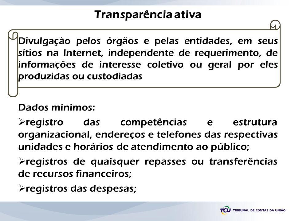 Transparência ativa Divulgação pelos órgãos e pelas entidades, em seus sítios na Internet, independente de requerimento, de informações de interesse c